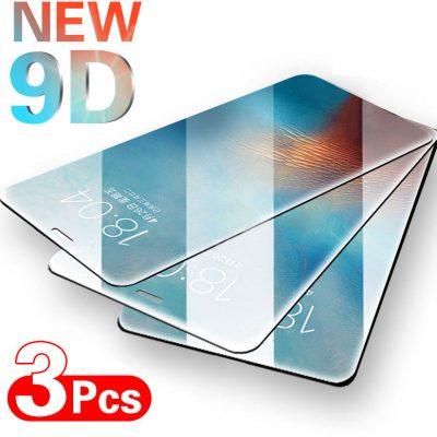 3 sztuk pełna pokrywa szkło ochronne dla iPhone SE 6 6s 7 8 Plus szkło hartowane dla iPhone X XS XR