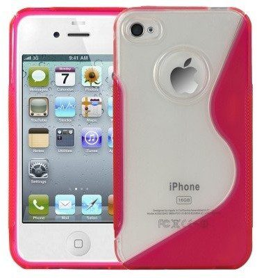 APPLE Logotrans Wave Series Silikon Schutzhülle für iPhone 4 rosa