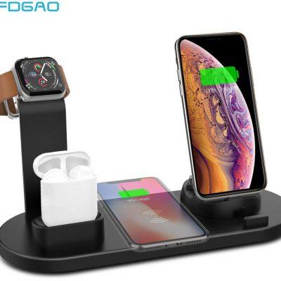Apple Stojak do bezprzewodowego ładowania FDGAO 4 W 1 do zegarka 5 4 3 2 1 iPhone 11 X XS XR 8