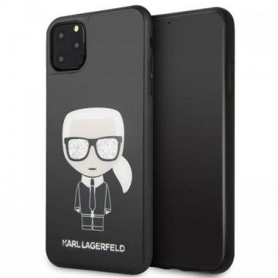 Karl Lagerfeld Double Layer Glitter Tempered Glass - Etui iPhone 11 Pro Max ze szklanym tyłem (czarny)