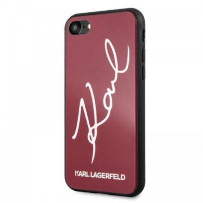 Karl Lagerfeld Double Layers Glitter Signature Case - Etui iPhone 8 / 7 (Red)