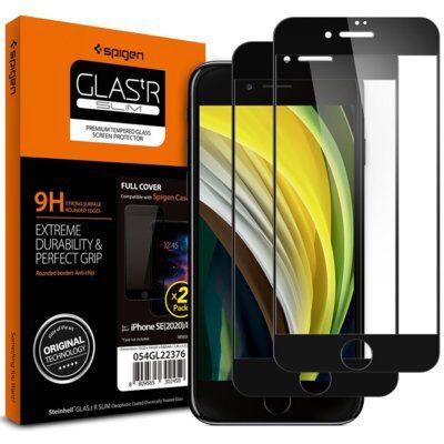 Spigen Szkło do etui Glas.tR Slim FC 2-Pack iPhone SE 2020, 8/7, czarne 8809710753181